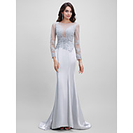 TS Couture® Formal Evening Dress Trumpet / Mermaid Bateau Sweep / Brush Train Satin with Appliques / Beading / Lace
