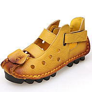 Women's Shoes Nappa Leather Flat Heel Comfort Loafers Outdoor / Office & Career / Athletic / Dress / Casual Yellow / Red
