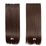 """clip synthétique cheveux 24 """"60cm 120g # 4 long clip droit dans les cheveux extensions pièces 5 clips de fibres à haute température"""