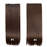 "klippet i syntetisk hår 24 ""60cm 120g # 4 lang rett klipp i hair extensions stykker 5 klipp høy temperatur fiber"