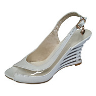 샌달 - 파티/이브닝 - 여성의 신발 - 힐 / 토오픈 - 레더렛 - 웻지 굽 - 블랙 / 블루 / 핑크 / 화이트