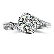 Genuine Brand 0.8CT SONA Diamond Ring for Women Sterling Silver in Platinum Plated Engagement Ring Round Shape