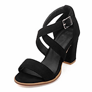 Women's Shoes Chunky Heel D'Orsay & Two-Piece / Open Toe Sandals Party & Evening / Dress Black / Red / Gray
