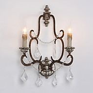 2 Heads Retro Amercian Countryside Crystal with Wood Lampholder Wall Lamp for Foyer / Corridor House Decorate Wall Lamp