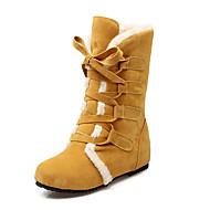 Damen-Stiefel-Outddor Lässig-Kunstleder-Keilabsatz-Schneestiefel Modische Stiefel-Schwarz Gelb Beige