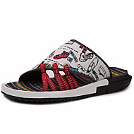 Men's Shoes Canvas Athletic / Casual Slippers & Flip-Flops Athletic / Casual Sports Sandals Flat Heel Plaid White