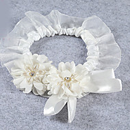 ELegant Fashion Sexy Style White Stretch Satin with Lace Pearl Flower Decoration Wedding Garters
