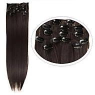 """grampo de cabelo barato em extensões de cabelo sintético 22 """"7pcs / set # 4 cor marrom 100g resistência ao calor cabelo liso escuro"""