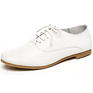 Women's Shoes Nappa Leather Spring/Summer/Fall/Winter Moccasin Oxfords Athletic/Dress/Casual Flat Heel Lace-up White