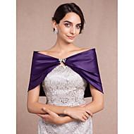 Wraps casamento Boleros Sem Mangas Cetim Preto / Marfim / Branco / Champanhe / Rubi / Violeta Casamento Arco / Strass Fecho