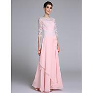 Lanting Bride Sheath / Column Mother of the Bride Dress Floor-length Half Sleeve Chiffon with Lace / Ruffles
