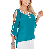 Women's Going out Street chic Summer Blouse,Solid Asymmetrical ¾ Sleeve Blue / Black Rayon Thin