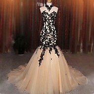 Formal Evening Dress Fit & Flare Halter Court Train Lace / Tulle with Appliques / Lace