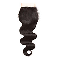 "1 Piece 4""x4"" Brazilian Body Wave Lace Weave Closure Hair 100% Remy Hair Bleached Knots Top Closures"