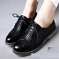 Women's Oxfords Spring Pointed Toe PU Casual Flat Heel Others Black / Brown