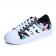 Women's Shoes Leatherette Spring / Fall Comfort Sneakers Casual Flat Heel Lace-up Black / White Walking