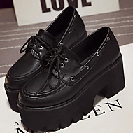 Women's Oxfords Fall Creepers / Round Toe PU Casual Platform Lace-up Black / Brown Others