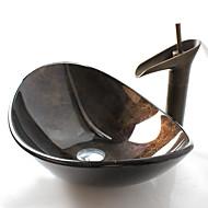 Antiquado T12*L540*W360*H165 Rectângular material dissipador é Vidro TemperadoPia de Banheiro / Torneira de Banheiro / Anél de Instalação