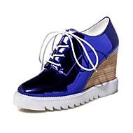 Feminino-Botas-Conforto Inovador Gladiador-Anabela-Azul Vermelho Prateado-Courino-Casamento Casual Social