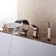 Art Deco / Retro Római kád Vízesés / Kézi zuhanyzót tartalmaz with  Kerámiaszelep Egy fogantyú három lyuk for  Olajjal kezelt bronz , Kád