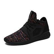 Herren-Sneaker-Outddor Lässig Sportlich-Tüll-Flacher Absatz-Komfort Leuchtende Sohlen-Schwarz Blau Schwarz und Rot