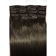 "18"" # 2 donkerbruin clip in human hair extensions 8pcs / 80g"