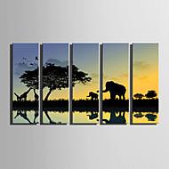 Płótno Set Krajobraz Fason europejski,Pięć paneli Płótno Pionowe Art Print wall Decor For Dekoracja domowa