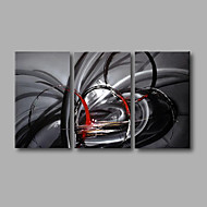 "Stretched (Ready to hang) Hand-Painted Oil Painting 48""x28"" Canvas Wall Art Modern Abstract Black Red Grey"