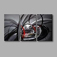 Ручная роспись Абстракция / Поп Картины маслом,Modern 3 панели Холст Hang-роспись маслом For Украшение дома