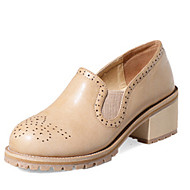Women's Oxfords Fall Heels / Round Toe PU Dress / Casual Chunky Heel Others Black / Almond Others