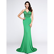TS Couture® Formal Evening Dress Trumpet / Mermaid Spaghetti Straps Court Train Lace / Jersey with Lace