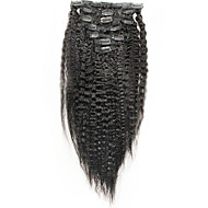 włoski zacisk gruba Yaki ludzkich włosów przedłużających kinky łańcuchu prostym 6a brazylijski włosy prostą 100% ludzkich włosów