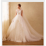 Ball Gown Wedding Dress Sweep / Brush Train Scoop Organza with Appliques / Beading / Lace
