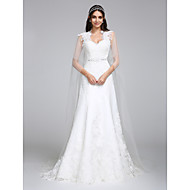 A-line Wedding Dress Watteau Train Queen Anne Tulle with Lace / Appliques / Beading