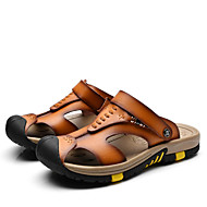 Men's Sandals Summer Open Toe / Sandals Leather Casual Flat Heel Others Blue / Brown / Camel Walking