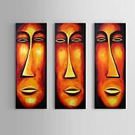 Pintados à mão Abstracto / Pessoas / Retratos Abstratos Pinturas a óleo,Estilo Europeu / Modern / Clássico 3 Painéis TelaHang-painted