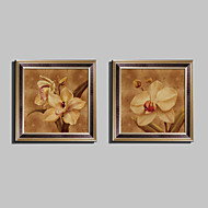 플로랄/보타니칼 프레임 캔버스 / 프레임 세트 벽 예술,PVC 브라운 매트 없음 프레임으로 벽 예술