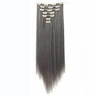 Long Straight Hair Extension 22inch 130g 16 Clips 7pcs/set Synthetic Clip in Hair Extensions Heat Resistant Gray color