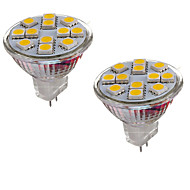6W GU4(MR11) LED Bi-pin světla MR11 12 SMD 5050 600 lm Teplá bílá / Chladná bílá Ozdobné DC 12 V 2 ks