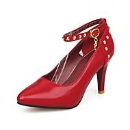נשים-עקבים-סינטתי עור פטנט דמוי עור-חדשני רצועת קרסול-שחור אדום לבן Almond-חתונה משרד ועבודה שמלה יומיומי מסיבה וערב-עקב סטילטו