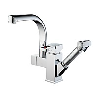 Modern Pull-out/­Pull-down / Standard Spout Vessel Rain Shower / Widespread / Pullout Spray / Rotatable with