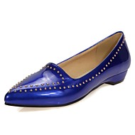Women's Flats Summer/ Pointed Toe Patent Leather Office & Career / Casual Wedge Heel Rivet Blue / Pink / Red / Beige