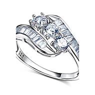 Široké prsteny Kubický zirkon Stříbro Zirkon Módní minimalistický styl Bílá Šperky Svatební Párty Halloween Denní Ležérní 1ks