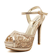 Women's Heels Spring/Summer/Fall Peep Toe Platform Slingback Lace Sandals for Party & Evening/Dress/Casual Stiletto Heel