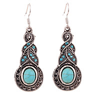 Hot Sale 2016 Vintage Ethnic Style Bohemia Tibetan Silver Plated Turquoise Gourd Flower Drop Earrings For Women