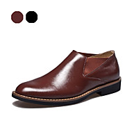 Men's Spring Fall Winter Leather Office & Career Casual Party & Evening Flat Heel Black Brown