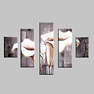 Hand-Painted Landscape / Floral/Botanical 100% Hang-Painted Oil Painting,Classic / Modern / Traditional Five Panels Canvas Oil Painting