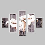 Håndmalte Landskap Blomstret/Botanisk Enhver form,Klassisk Moderne Tradisjonell Fem Paneler Hang malte oljemaleri For Hjem Dekor