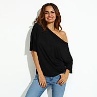 T-shirt Da donna Casual Semplice Estate,Tinta unita A barca Poliestere Rosa / Bianco / Nero Manica corta Medio spessore