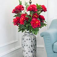 1 1 Větev Polyester / Umělá hmota Pivoňky Květina na zem Umělé květiny 29.3inch/100cm